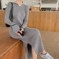 Casual Dresses Autumn Hooded Side Split Female Knitted Dress Women Stretched Sweater Ladies Pullovers Vestidos 2021