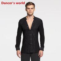 Modello a maniche lunghe Pulsante Mens Camicie Latine Dance Top Ballroom Costumi di danza latina Abbigliamento da palcoscenico per gli uomini Abbigliamento da ballo