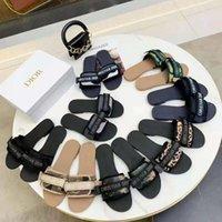 Sandal plat de luxe Design broderie pantoufles noires superficielles Beach Loisirs Loisirs Ensemble de serrure en dentelle intérieur Ensemble complet d'accessoires 35-41 chaussures008 130100