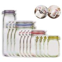320 pz Portatile Mason Jar Zipper Borse con cerniera riutilizzabile Snack Saver A Prove di perdita Sandwich Sandwich Storage Buono per il viaggio