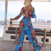 bohemian Beach casual dress women fashion cheap clothes plus size summer beach dresses for women sexy irregular hem chiffon dress womens WZ2F