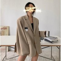 Women's Suits & Blazers Net Red Casual Suit Silhouette Coat Top 2021 Early Spring Medium And Long Loose Wear
