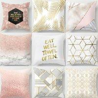 1pcs or brillant coton de coton imprimé linge oreiller étui décoratif maison maison coussine couvre caisse carrée décalcomanie 45x45cm