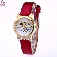 매력 팔찌 하레다 한국어 귀여운 고양이 Bowknot 시계 패션 크리 에이 티브 어린이 팔찌 2021 여성을위한 빨간색 만화 손 보석 액세서리