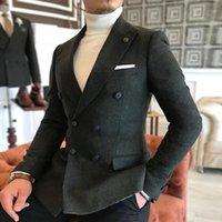 أحدث معطف تصاميم الشتاء البوليستر تويد الصوف مزيج العريس السترة سهرة تدخين سترة مع السراويل الدعاوى الزفاف للرجال 2021 الرجال bla