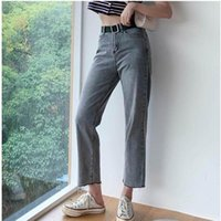 Women's Jeans Colorfaith 2021 Women Casual Straight High Waist Trousers Pants For Ladies Grils Ankle Length