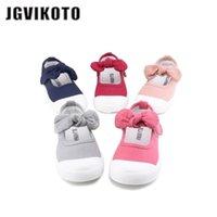 JGVIKOTO Baby Girl Shoes Lona Casual Crianças Sapatos Com Bowtie Bow-Nó Doce Candy Color Girls Sneakers Sapatos Crianças 21-30 210922