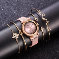 5 pc / set luxo marca mulheres relógios gradiente ímã relógio moda casual fêmea relógio de pulso simples bracelete vestido rosa relógio relógio presentes