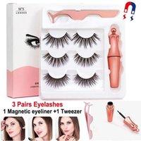 Magnetiska ögonfransar falska ögonfransar sätta falsk mink lash flytande eyeliner + en tweezer 3d magnet faux cils återanvändbar ingen lim 15sätter mycket pestañas magneticas