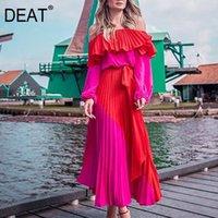 Casual Dresses DEAT 2021 Spring Long Sleeve Slash Neck Strapless Red Fuchsia Patchwork High Waist Ruffles Maxi Dress Women MH896