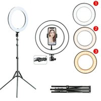 Porte-téléphone portable Supports de supports de 10 pouces DIMMABLABLABLE Bague Selfie Remplissage Lampe de caméra 26cm avec trépied de stand pour le maquillage
