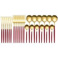 Cups, Dishes & Utensils 24pcs Gold Mirror Cutlery Set Stainless Steel Dinnerware Knife Fork Spoon Silverware Tableware Kitchen Dinner Flatwa