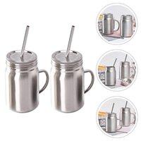 Mugs 2 PCS Bouteilles en acier inoxydable multifonctionnelles Mason Jars pour la maison (700 ml)