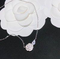 럭셔리 디자이너 쥬얼리 여자 목걸이 펜던트 Camelia Precieux 다이아몬드 꽃 더블 문자 C 패션 원래 상자 스털링 실버