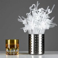 100 pz / confezione decorazione di paglia flessibile bolla bolla tè cocktail party paglia cucina gadget compleanno festa di nozze partita forniture Y0707