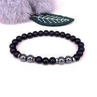 Beaded, Strands 2021 Simple Obsidian Elastic Bracelet Men's Hematite 8MM Beads Black Fashion Jewelry Pulsera Hombre Perfumes Mujer