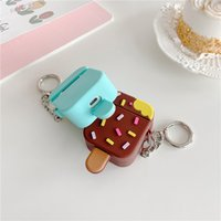 Cute Ice Cream Shape Case with Keychains for Airpods 1 2 Pro 3 Soft Silicone Flexible Cases Cover Cute Shockproof Earphone protectors Wholesale Bulk 97230