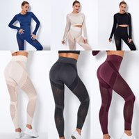 2021 Shaping leggings Breathable mesh high waist tight Peach hip yoga pants designer women clothes fitness running Quick dry pant Sexy long sleeve top Elastic suit