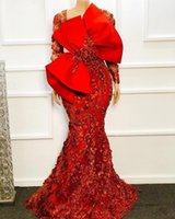 Formal robe de soirée Red Evening Dresses with big bow 2021 African Mermaid Prom Dress with 3D Floral Appliqued Arabic vestidos formales