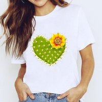 T-shirts Top For Women Plant Cactus Flower Love Cute 90s Trend Clothing Print Lady Graphic T Shirt Ladies Female Tee T-Shirt Women's