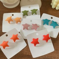 Fashion South Korea East Gate knocks sweet girl's candy color three-dimensional curly five point star frosted surface Earrings2021