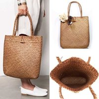 Foldable Reusable Shopping Bag Women Travel Shoulder Grocery Bags Handbag Summer Casual Women Straw s Handmade Basket Tote Beach Ladies Ha