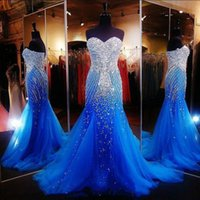 2020 New Luxury Ocean Blue Strapless Beaded Mermaid Long Prom Dresses Tulle Crystals Sweep Formal Party Evening Dresses