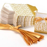 10pcs Creative Golden Silver Ribbon Wedding Favours Gift Paper Box Cookie Candy bags Event Party Supplies CCE3966 NHJA
