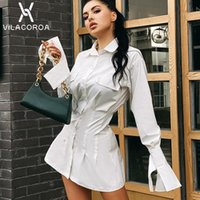 Casual Dresses Women Pleated Shirt Dress Sexy High Waist Solid Blouse Female Vintage Flare Long Sleeve Slim Bodycon Bandage Loose