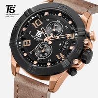 로즈 골드 가죽 스트랩 브랜드 T5 럭셔리 블랙 남자 쿼츠 크로노 그래프 방수 망 남자 시계 스포츠 시계 손목 시계