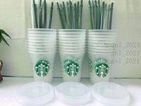 Starbucks 16oz / 473ml Table en plastique de sirène de sirène Réutilisable Thé de paille à thé à l'eau froide
