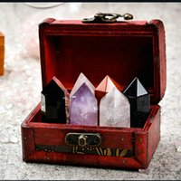Decorative Objects & Figurines Natural Crystal Stone Hexagonal Prism Creative Table Decoration Five-color Ore Obsidian Amyst Pink Gift Box