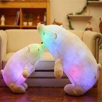 45/70 cm Aydınlık Ayılar Dolması Yastık Renkli Parlayan Bebek Yumuşak Hayvan Peluş Bebek LED Işık Oyuncak Çocuklar Noel Hediyeleri