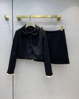 İki Parça Elbise 2021 Sonbahar Yaka Boyun Uzun Kollu Boncuk Panelli Mont Ve Kadın Moda Baskı Etekler Için 2 Parça Setleri 0812-5