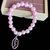 Beaded, Strands Handmade Greek Sorority Elastic Line Pink Pearl Ellipse To Hollow Out Letter Charm Bracelet Women Jewelry