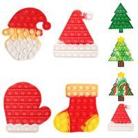SD004 Party Favor Push Finger Fidget Sensory Bubble Decompression Puzzle Toys Christmas Hat Tree Glove Kids Anti-Stress Reliever Desktop Educational Game Toy