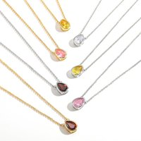 Pendant Necklaces Multicolor Crystal Water Drop Necklace For Women Gold Silver Color Stone Long Chain Statement Collares Gifts