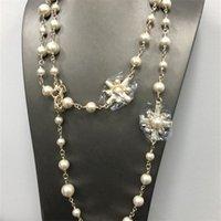 Mode Perlen Halskette Luxcy Party Lange Kreuz Blume Halskette Vintage Perlen Kette Schmuck Brief Name Pullover Kette C Neckalce 210331