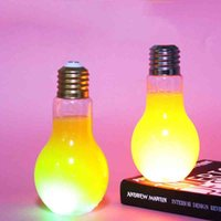Bulb LED Plastic Milk Juice Light Water Bottle Disposable Leak-proof Drink Cup With Lid Creative Drinkware Who