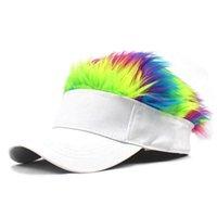 الرجال النساء عارضة موجزة مظلة قابل للتعديل قناع قناع قبعة بيسبول مع شعر مستعار قبعة الباروكات beanies