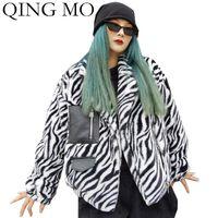 Women's Jackets QING MO 2021 Winter Women Moto & Biker Style Jacket Zebra Striped Pu Leather Patchwork Short Coat ZQY6018