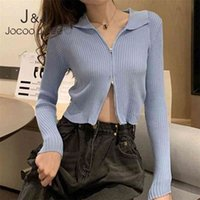 Jocoo Jolee Fashion Black Ribbed Zip-up Cardigans Casual Turn-down Collar Long Sleeve Autumn Sweater Sexy Cropped Tops Knitting 210809