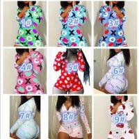 Дизайнерские женщины Pajama onsiesies Ночная одежда Одизуи для Одиночки Обогащение Кнопка тощий Горячая печать Комбинезоны V-образным вырезом Короткие жопы Rompers 827