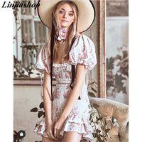 Boho Lovebackfancy Herbstkleid Beige Kurzarm Rüschen Slim Holiday Ins Blogger Sonderzinsen Minikleid Frauen