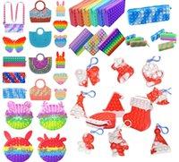Декоментированная игрушка мини-сумки рождественские поп-игрушки, цвет радуги, единорог, офис, умные часы, цепочка для ключей, взрослые дети еджет сенсорные, стресс, кошелек, сумки, рюкзаки,