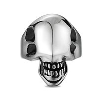 Skull Ring for Men Stainless Steel Gothic Punk Motor Biker Skeleton Glossy Alien Finger Rings Cool Fashion Jewelry