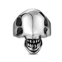 Schädelring für Männer Edelstahl Gothic Punk Motor Biker Skeleton Glänzend Alien Finger Ringe Coole Modeschmuck