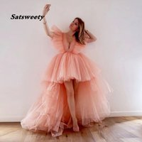 2021 Pretty Peach High Low Tulle Evening Dress Ruffles Fashion Long Tutu Prom Gowns Sexy Deep V-neck Party Dresses