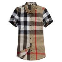 Luxurys desingers 남자의 비즈니스 캐주얼 셔츠 슬리브 스트라이프 슬림 남성 사회 패션 격자 무늬 M-3XL # 02