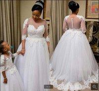 2021 robe de soiree white lace tulle a line wedding dress beaded appliques 3 4 sleeve vintage muslim women bride dresses princess saudi arabic long bridal gowns on sale